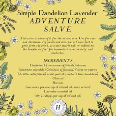 🌼Simple Dandelion and Lavender Adventure Salve 🌼 This salve is wonderful for the adventurer. It can be used for cuts and abrasions, dry… Cold Home Remedies, Natural Health Remedies, Herbal Remedies, Healing Herbs, Medicinal Plants, Natural Healing, Natural Skin, Herbal Medicine, Natural Medicine