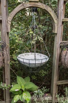 Easy Ways To Add Water To Your Garden | Place a bowl in a wire hanging basket and fill it with water for an easy bird bath.