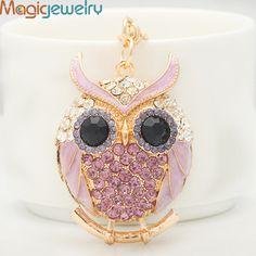 Kawaii Crystal Plump Owl Key chain Ring Fashion Rhinestone Animal Metal Keychain