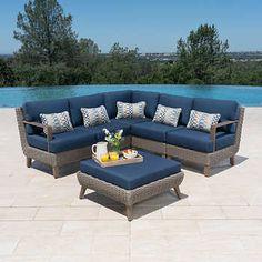 Vigo 5-piece Woven Sectional Outdoor Sofa Sets, Outdoor Spaces, Square Side Table, Ottoman Sofa, Aluminum Table, Beach House Decor, Home Decor, Patio Seating, Diy Patio