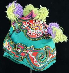 Tribal Exotic Chinese Dong people's old hand embroidery child hat