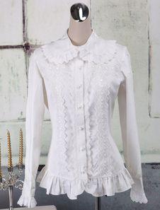 Toussaint Cospaly Costume Lolita blanc Blouse manches longues volants dentelle…