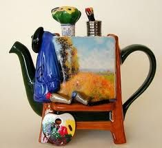 Teapot . background image is part of a painting by Impressionist, Claude Monet.