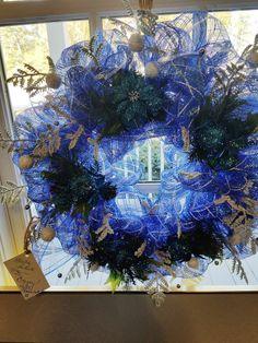 "SALE! Happy Chanukah wreath is 21"". $35."