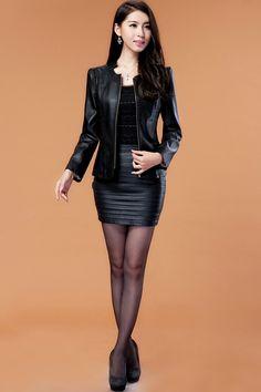 Mulheres de grande porte curto parágrafo magro jaqueta de couro feminina jaqueta de couro com zíper casaco era magro feminino M 4XL em Couro e Camurça de Roupas e Acessórios Femininos no AliExpress.com | Alibaba Group