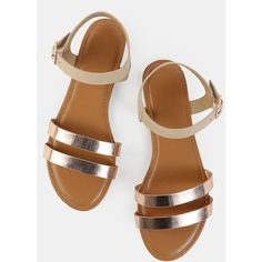 Metallic Duo Skinny Strap Sandals ROSE GOLD found on Polyvore featuring polyvore, women's fashion, shoes, sandals, nude, metallic sandals, rose gold flats, t-strap flats, ankle strap sandals and metallic flats