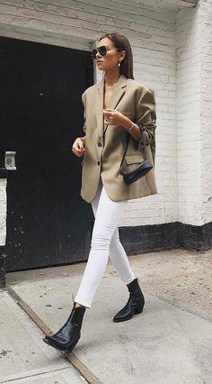 light tan oversized blazer | white pants | black boots