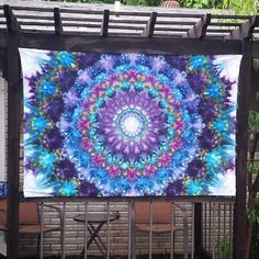 STUNNING Tie Dye Art used as a sunshade on a pergola. A beautiful mandala by Urban Eden Creative Studio makes for home decor Ice Dyeing, Color Of Life, Creative Studio, Pergola, Tie Dye, Mandala, United States, Tapestry, Fan Art