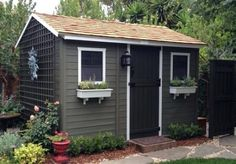 garden shed colours cabana garden shed ronseal garden shed paint colours Backyard Storage Sheds, Backyard Sheds, Outdoor Sheds, Shed Storage, Bike Storage, Tool Storage, Shed Paint Colours, Casas California, Painted Shed