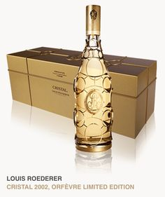 LOUIS ROEDERER | CRISTAL 2002 | ORFÈVRE LIMITED EDITION | Designed by Philippe Di Méo, each bottle represents a technical wizardry, entirely handmade and achieved thanks to an extreme know-how, requiring four days of work. The iconic locket of the Maison Roederer is set in a protective 24-carat gold-plated link, unfurling around the Jeroboam. Limited edition counting 400 units | Price on request