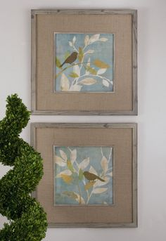 Turquoise bird silhouettes prints are accented by medium tone burlap mats. Frames and fillets are made of reclaimed wood with muted gray wash and light taupe glaze. http://www.decorbound.com/store/#!/Turqouise-Bird-Silhouettes-Prints-S-2/p/42203299/category=10771035