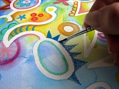How to use watercolor pencils and masking fluid to create abstract art