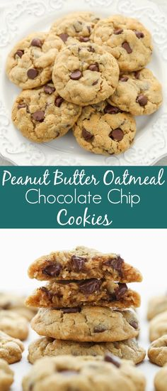 Delicious oatmeal cookies cookies that are incredibly easy to make. These Peanut Butter Oatmeal Chocolate Chip Cookies are super soft, chewy, thick, and bake up perfectly every time. There is even no dough chilling required! Perfect Chocolate Chip Cookies, Butter Chocolate Chip Cookies, Chocolate Chip Oatmeal, Chocolate Peanut Butter, Oatmeal Cookies, Soft Peanutbutter Cookies, No Butter Cookies, Chocolate Chip Recipes Easy, Chocolate Chips