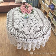 Items similar to Gorgeous hand crochet tablecloth OVAL, huge size handmade table cover, Vintage style table linen for home decor ~ Nice gift for Mom on Etsy Crochet Round, Hand Crochet, Crochet Lace, Crochet Tablecloth Pattern, Crochet Doilies, Thread Crochet, Filet Crochet, Doily Patterns, Crochet Patterns