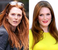 Julianne Moore  On left: strolling through New York City's West Village neighborhood on October 12, 2012  On right: posing at the 64th Annual Primetime Emmy Awards in L.A. on Sept. 23, 2012