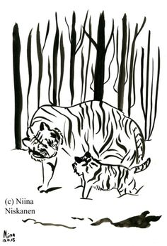 Tigers In The Forest Original Ink Painting Animal Feline Illustration Original Tiger Art Mother Tiger Baby Tiger Snowy Woods, Snowy Forest, Watercolor Paintings Nature, Ink Painting, Watercolor Paper, Animal Paintings, Paintings For Sale, Original Artwork, Original Paintings