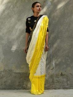 Ivory-Yellow Handwoven Silk Saree