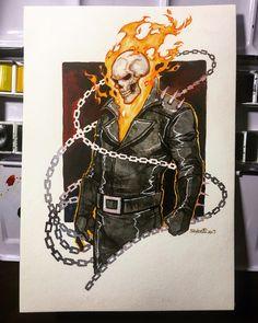 Ghost Rider Drawing, Ghost Rider Tattoo, Avengers Art, Marvel Art, Cool Art Drawings, Art Sketches, Comic Books Art, Comic Art, Ghost Raider