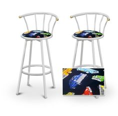 """2 Old Car Oldsmobile Fabric Specialty / Custom White Barstools with Backrest Set by The Furniture Cove. $145.87. White Metal Finish. Set of 2 Bar Stools. These are new, 24"""" White bar stools with footrests and swivel seats with a backrest! These Feature an Old Car Oldsmobile fabric seats that are cool and unique. The pads are 14"""" across and the seat is 24"""" tall. The entire height is 35"""". The sides of the seat have nice metal work and there are feet protectors o..."""