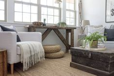 Modern rustic living room decorating ideas with distressed wooden trunk coffee table elegant wh Living Room Themes, Cozy Living Rooms, Living Room Grey, Living Room Modern, Living Room Furniture, Living Room Designs, Ottoman Furniture, Cottage Living, Rustic Contemporary