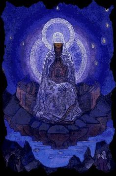 Mati Syra Zemia (Moist Mother Earth), Slavic mother goddess, is probably one of the oldest and most important deities.~ Could be a volva sitting out.