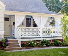 To give a boxy porch architectural interest, swap out a standard railing for a custom design. Trust us, it's a simple substitute that can make a world of difference! http://www.bhg.com/home-improvement/exteriors/curb-appeal/creative-curb-appeal-ideas/?socsrc=bhgpin042115boxyporch&page=7