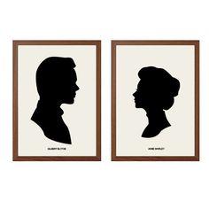 ANNE of GREEN Gables | Anne Shirley + Gilbert Blythe Poster : Modern Illustration Books Retro Art Wall Decor