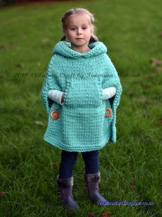 Knitting Pattern Ramble Poncho All sizes Etsy Poncho Knitting Patterns, Crochet Poncho, Knitting Stitches, Knit Patterns, Crochet Hats, Easy Knitting, Knitting For Beginners, Baby Sweaters, Crochet For Kids