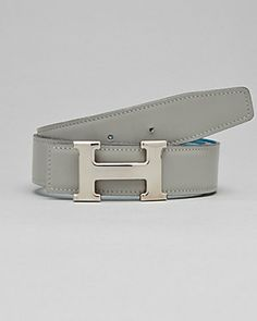Hermes Grey & Blue Reversible Leather Constance Belt (Size 70)