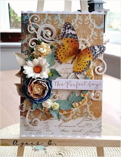 Beautifully designed card from Agnes B using products from  http://www.scrapandcraft.co.uk/