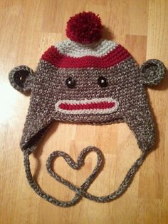 Hand Crocheted Sock Monkey Hat Child Size by laceylove81