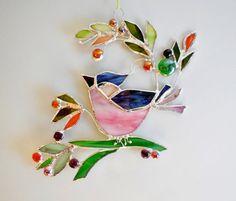 Vogel und Beeren. Rosa Blue Bird. Glasmalerei von jacquiesummer