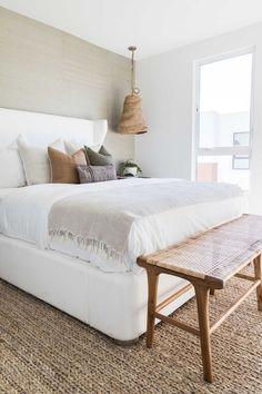 Neutral Bedroom Decor and Design, Bedding Bedroom Inspo, Home Decor Bedroom, Neutral Bedroom Decor, Bench In Bedroom, Bedroom Furniture, Bedroom Ideas, Bedroom Frames, White Bedroom Design, Neutral Bedrooms