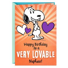 Peanuts® Snoopy Lovable Birthday Card for Nephew - Greeting Cards - Hallmark Birthday Message For Nephew, Birthday Quotes Kids, Sweet Birthday Messages, Happy Birthday Nephew, Snoopy Birthday, Happy Birthday Friend, Birthday Wishes For Myself, Happy Birthday Images, Happy Birthday Greetings