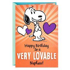 Peanuts® Snoopy Lovable Birthday Card for Nephew - Greeting Cards - Hallmark Sweet Birthday Messages, Romantic Birthday Wishes, Birthday Cards For Mom, Funny Birthday Cards, Birthday Greeting Cards, Birthday Greetings, Birthday Wishes For Nephew, Snoopy Birthday, Happy Birthday Sister
