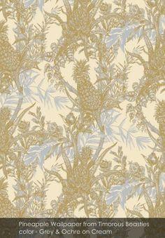 Pineapple wallpaper from Timorous Beasties - HS/PINE/ - Grey And Ochre on Cream Pineapple Wallpaper, Orange Wallpaper, Of Wallpaper, Designer Wallpaper, Pattern Wallpaper, Pineapple Fabric, Thistle Wallpaper, Fantasy Wire, Timorous Beasties