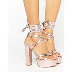 Truffle Collection Tie Ankle Platform Heeled Sandals ($45) ❤ liked on Polyvore featuring shoes, sandals, copper, platform sandals, block-heel sandals, strappy platform sandals, block heel sandals and high heel shoes