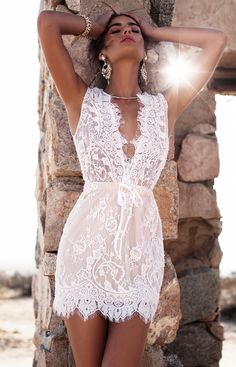 Lurelly Sicily Floral Lace Dress || Our Beautiful beaded Sicily Lace Dress is made from delicate white lace with scalloped trim and beautiful beaded details.