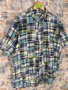 Excited to share this item from my #etsy shop: Patchwork Checkered Flannel Shirt Large Vintage Multicolour Patchwork Flannel Plaid Rebuild Flannel Mens Buttondown Size L #womenflannelshirt #vintagepatchwork #rusticflannel #flannelvintage #checkeredpatchwork #reconstructedshirt #rebuildflannel #hipsterflannel #grungeflannel Plaid Flannel, Flannel Shirt, Flannel Style, Flannel Fashion, Men Casual, Men Shirt, Mens Tops, Shirts, Clothes