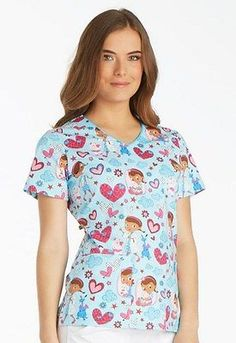 17f226fd885 Disney-by-Cherokee-Tooniforms-Scrubs-Doc-McStuffins-Print-Top-TF614-DCAT