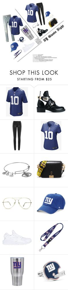 """NY GIANTS"" by akfhxny on Polyvore featuring Justin Bieber, Balenciaga, Helmut Lang, NIKE, Alex and Ani, Off-White, '47 Brand, The Memory Company and Cufflinks, Inc."
