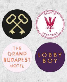 4 The Grand Budapest Hotel Stickers! lobby boy, zubrowka, wes anderson film, ralph fiennes, royal tenenbaums, moonrise kingdom, on Etsy, $10.46