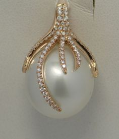 SOUTH SEA PEARL & DIAMOND PENDANT 18K PINK GOLD #Pendant