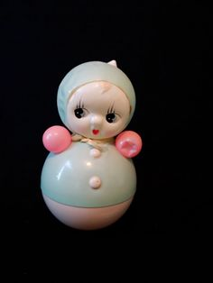 occupied japan celluloid kewpie doll vintage rocking roly poly baby toy chimes
