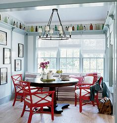 Cottage Living Idea House in the Hamptons - tropical - Kitchen - New York - Authentic Pine Floors, Inc. Kitchen Benches, Kitchen Nook, Red Kitchen, Kitchen Decor, Home Design, Design Ideas, Red Design, Interior Design, Tropical Kitchen