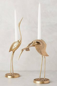 $68 Brass Crane Taper Holder