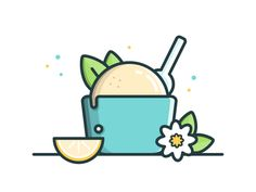I've decided to try out a new style for this illustration for one of my favorite show. The episode is called Orange Blossom Ice Cream. Also, going to use this illustration for the Sticker Mule pl. Flat Design Illustration, Simple Illustration, Outline Illustration, Kawaii Drawings, Cute Drawings, Vector Design, Logo Design, Color Vector, Icon Design