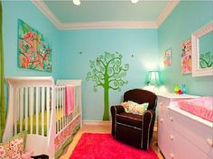 Beautiful Baby Nursery Ideas for Girls That Inspiring You: Floral Pink Aqua Nursery Baby Girls Nursery Themes – ComQT