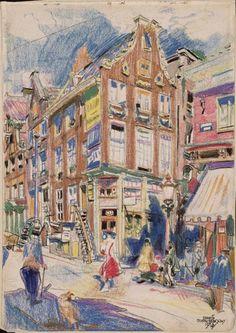 De hoek van de Nieuwendijk en Haringpakkerij,1916,  pastel op papier, Martin Monnickendam