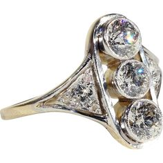 Antique Edwardian 3 Stone Diamond Ring in 18k Gold and Platinum, 1.7cttw found at www.rubylane.com @rubylanecom